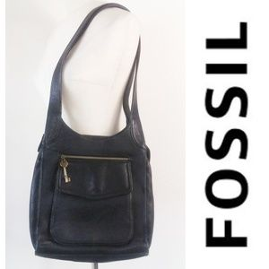FOSSIL Black Leather Tote Bag 15 Inch Strap Drop
